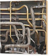 Close-up Of Tangled Pipes Wood Print