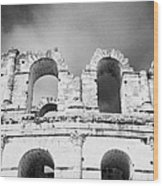 Close Up Of The Top Of The Old Roman Colloseum Against Blue Cloudy Sky El Jem Tunisia Wood Print