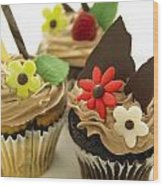 Close-up Of Three Chocolate Cupcakes Wood Print