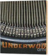 Close Up Of Vintage Typewriter Keys. Wood Print