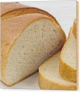 Close-up Of White Bread With Slices Wood Print
