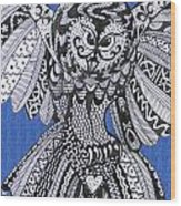 Close Up Owl Blue Wood Print