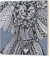 Close Up Owl Bubble Wood Print