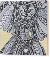 Close Up Owl Cream Wood Print