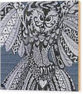 Close Up Owl Denim Wood Print