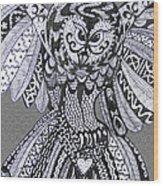 Close Up Owl Grey Wood Print
