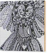 Close Up Owl White Wood Print