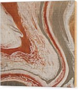 Poured Agate Painting Six Close-up Two Wood Print