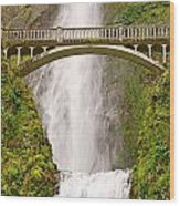 Close Up View Of Multnomah Falls In The Columbia River Gorge Of Oregon Wood Print