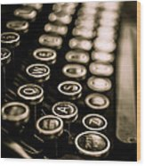 Close Up Vintage Typewriter Wood Print by Edward Fielding