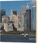 Close View Of Downtown Manhattan Eastern Skyline Wood Print