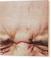 Closed Eyes Squinting And Forehead Wood Print