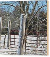 Closed Gate In Winter  Wood Print