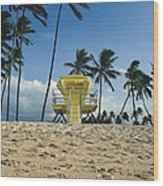 Closed Lifeguard Shack On A Deserted Tropical Beach With Palm Tr Wood Print