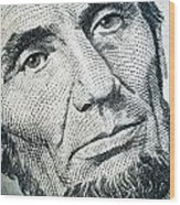 Closeup Of A Five Dollar Bill Wood Print