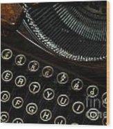 Closeup Of Antique Typewriter Wood Print