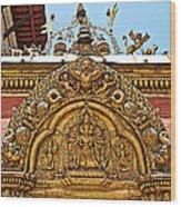 Closeup Of Carving Over Door In Bhaktapur Durbar Square In Bhaktapur-nepal Wood Print
