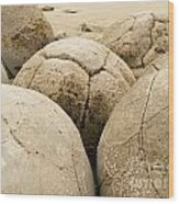Closeup Of Famous Spherical Moeraki Boulders Nz Wood Print