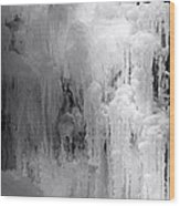Closeup Of Icy Waterfall - Black And White Wood Print