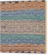 Closeup Of Old Rag Rug Wood Print