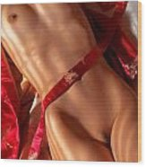 Closeup Of Sexy Nude Woman Body On Red Kimono Wood Print