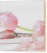 Closeup Of Tulip And Utensils On Pale Pink Wood Print