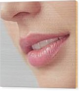 Closeup Of Woman Mouth With Pink Lips Wood Print