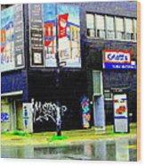 Closing Time Montreal Factory Glatts Produits Quebec Meats Graffiti Art City Scenes Carole Spandau Wood Print