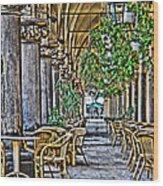 Cloth Hall Cafe In Krakow Wood Print