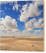 Cloudscape At Sahara Desert Wood Print