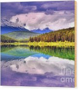 Cloud Cover On Lake Patricia Wood Print