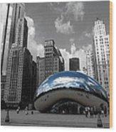 Cloud Gate B-w Chicago Wood Print
