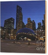 Cloud Gate Chicago At Sunset Wood Print