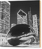 Cloud Gate Chicago Bean Black And White Picture Wood Print