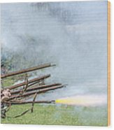 Cloud Of Smoke Volley Fire Wood Print