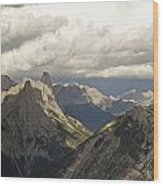 Cloud Over Rugged Mountain Peaks Banff Wood Print