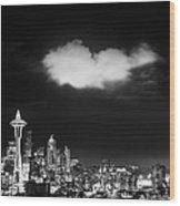 Cloud Over Seattle - Vertical Wood Print