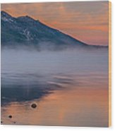 Cloud Reflection And Fog On Lake Tahoe Wood Print