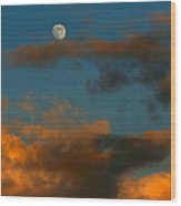 Cloud Series 36 Of Sunset With Moonrise Wood Print