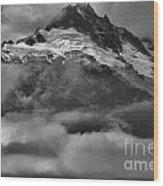 Cloud Smothered Peaks Wood Print
