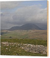 Cloud Streaming Across The Summit Of Pen-y-ghent Ribblesdale North Yorkshire England Wood Print