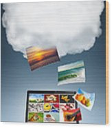 Cloud Technology Wood Print by Carlos Caetano