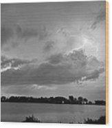 Cloud To Cloud Lake Lightning Strike In Bw Wood Print