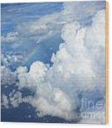 Clouds And Rainbow Wood Print