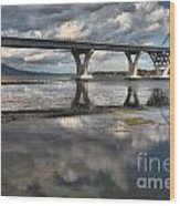 Clouds And Reflections Over Lake Champlain Wood Print