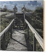 Clouds And Sand Dunes Wood Print by Patricia Januszkiewicz