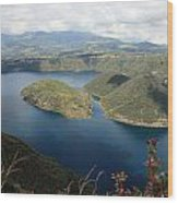 Clouds And Shadows On Lake Cuicocha Wood Print