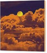 Clouds And The Moon Wood Print