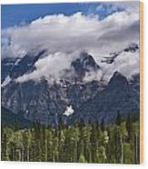 Clouds Around Mountains, Robson Wood Print