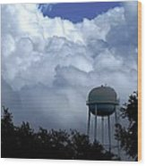 Clouds Around The Water Tower Wood Print
